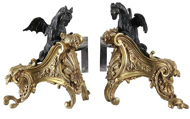 Pair of fire-dogs with winged dragon. Fire-gilt and dark green patinated bronze. Louis XV style. Napoleon III period.