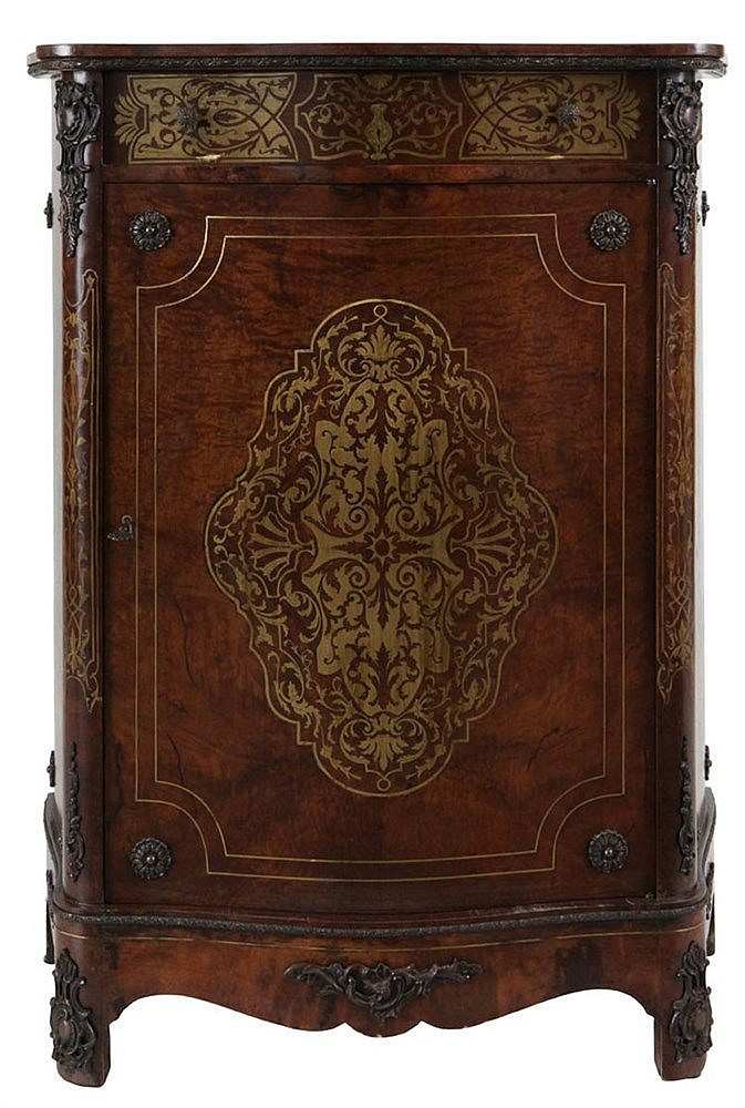Boulle side cabinet. Burr walnut veneer with copper inlay. One door, one drawer. Circa 1900.