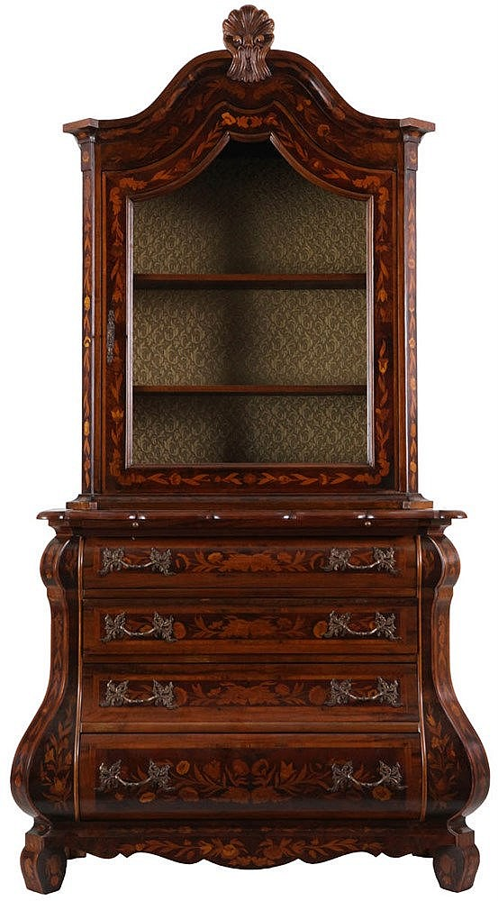 Marquetry bombe display cabinet with a shaped arched top. Walnut. One door, four drawers. 20th century work.