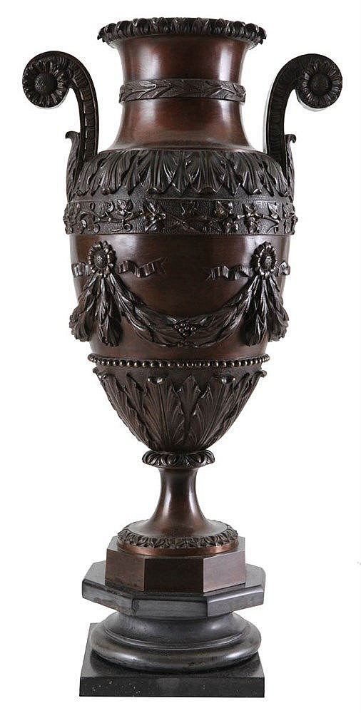 Double-handled amphora. Dark brown patinated bronze. Applied with flowering twigs, leaves and garlands. Louis XVI style. Napoleon III periode. Mounted on marble stand.