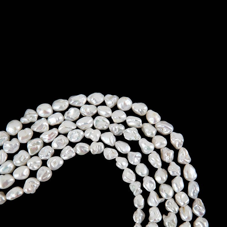 Set of five keshi pearl strings, natural colour.
