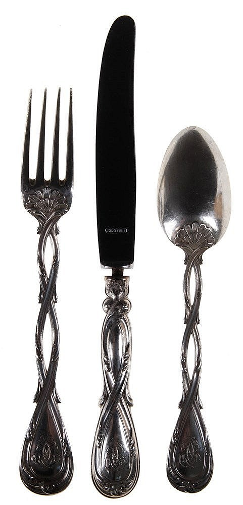 Part of a cutlery. Silver. Comprising 39 knives, 15 forks, 18 spoons. Nicely, parcel openwork shaft with botanical motives. Parisian work by Pierre Queille and Pierre Aucocq. Circa 1900.