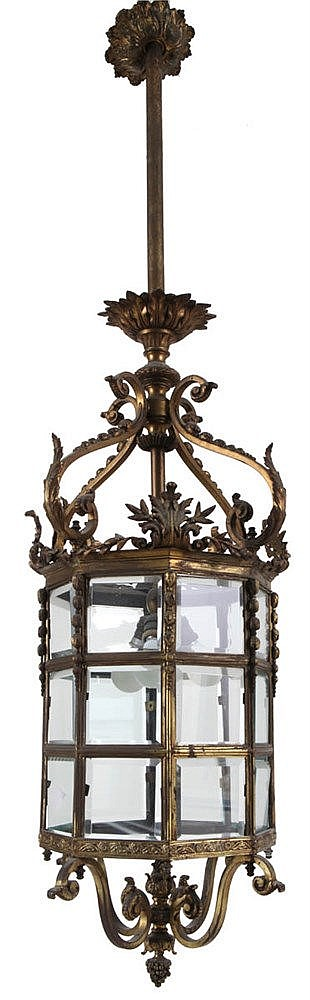 Octogonal hall lantern. Gilt bronze. Three lights. Transparent cut glass. Transition style. Napoleon III period.