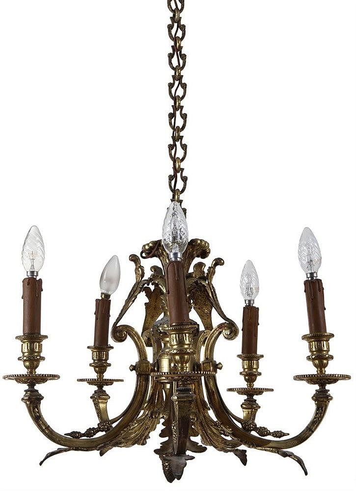 Chandelier. Gilt bronze. Five lights with foliate decor. Circa 1900.