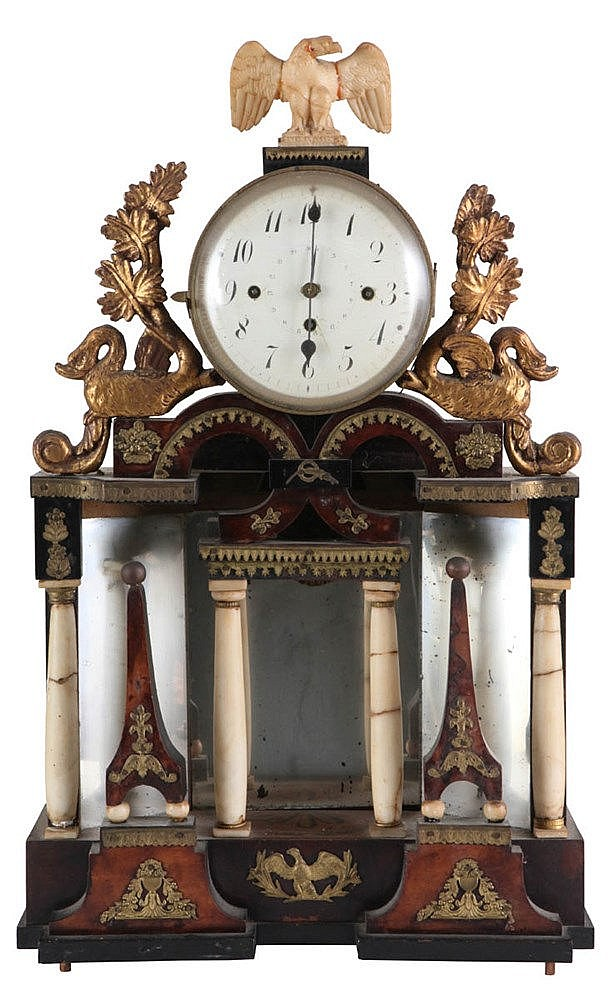 Portico mantel clock. Alabaster and light and dark walnut veneer with copper mounts. Napoleon III period. Poor state.