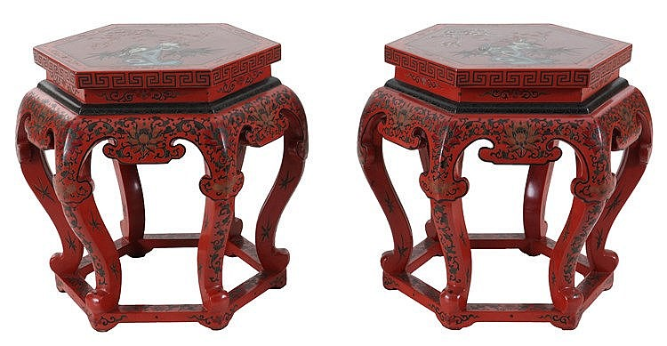 Pair of red lacquer hexagonal stands. Chinese work.