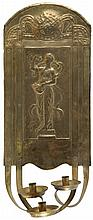 Copper wall-light fitted with three candle arms, the wall plate chased with an allegorical figure of Autumn.