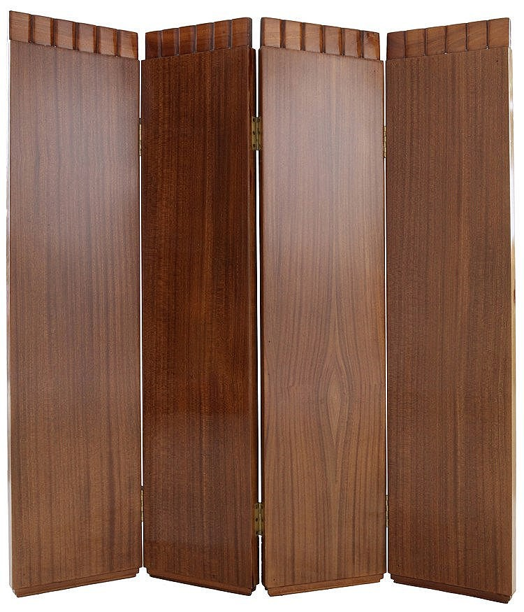 Low, four-piece folding screen in walnut. Art Deco period. In the Eugène Printz style.