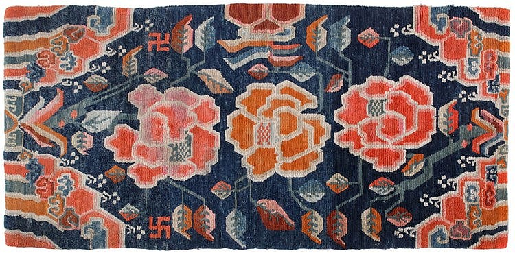 A set of two various carpets with floral motive in Art Deco style.