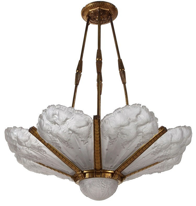 Chandelier. Bronze, frosted glass moulded with grapes. Nine lights. Art Deco period. Minor chips.