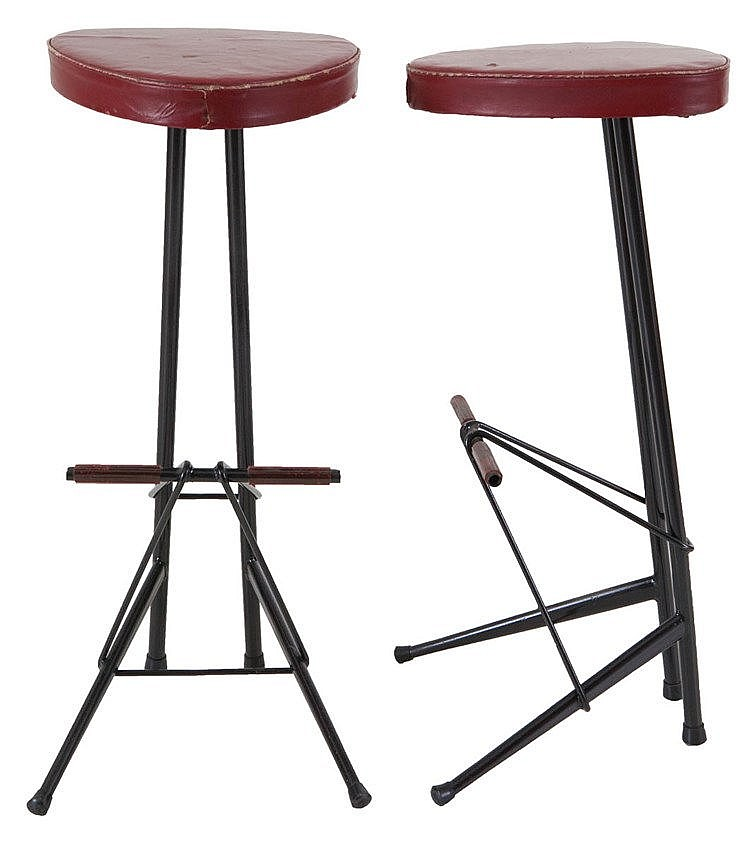 WILLY VAN DER MEEREN (1923-2003) / TUBAX Pair of stools, 1955. Black t
