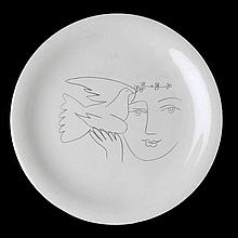 PABLO PICASSO (1881-1973) copie of A ceramic plate with printed sketch