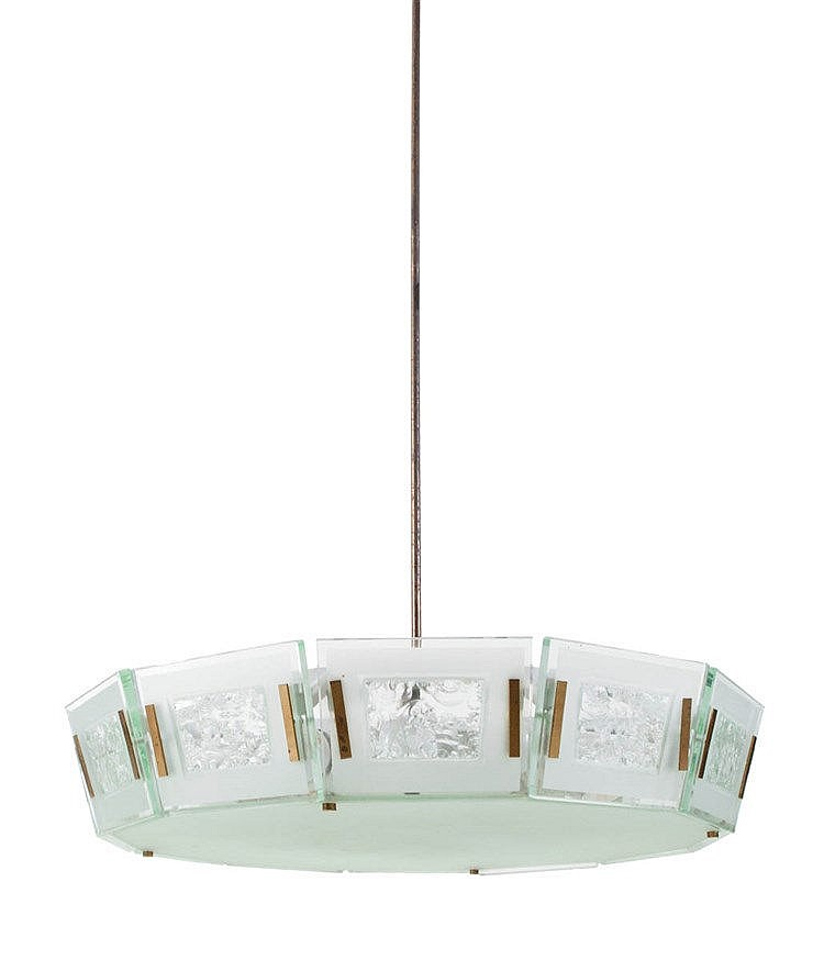 MAX INGRAND (1908 - 1969) / FONTANA ARTE Hanging lamp, model 2270. Cir