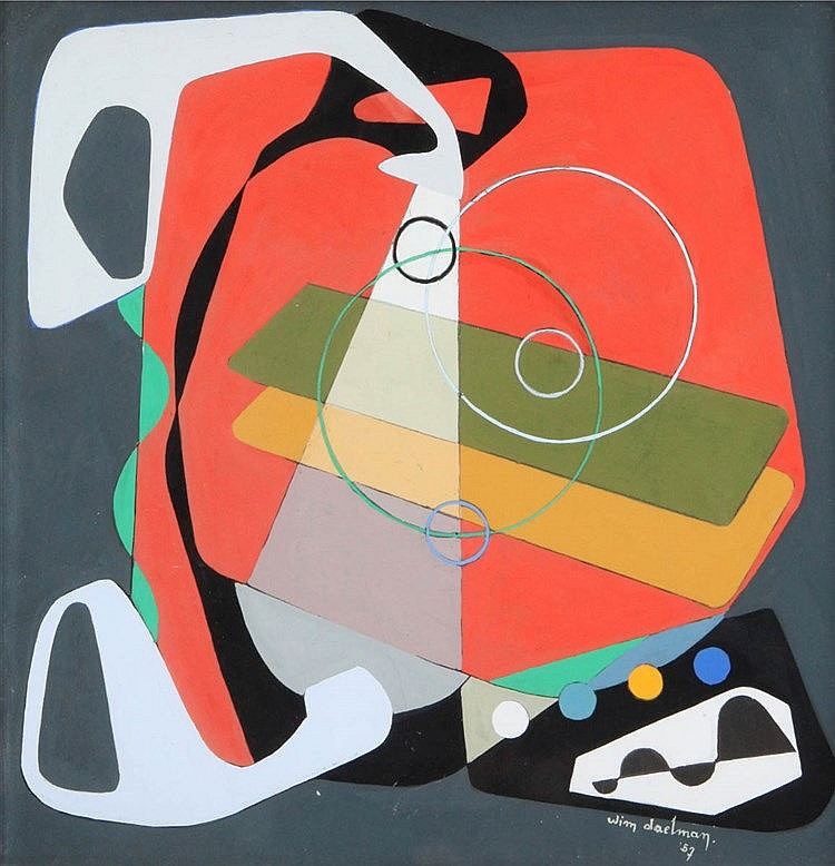 WIM DAELMAN XX Abstract composition. Board. Signed and dated 'Wim Dael