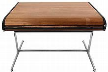 GEORGE NELSON (1908-1986) / HERMAN MILLER Desk with wooden roll-top fr