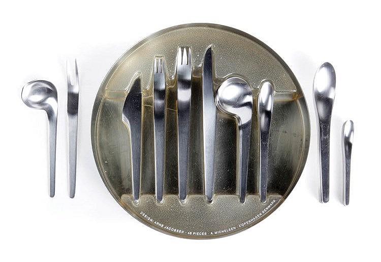 ARNE JACOBSEN (1902 - 1971) / ANTON MICHELSEN A 47 piece cutlery set f