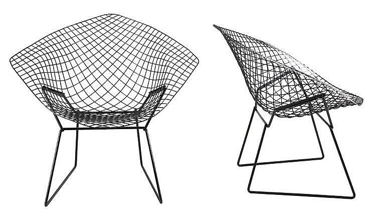 HARRY BERTOIA (1915-1978) / KNOLL INTERNATIONAL Pair of 'Diamond chair