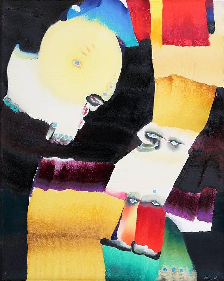 ATILA (1931-1987) 'Le sous-marin jaune' (1969) Canvas. Signed and