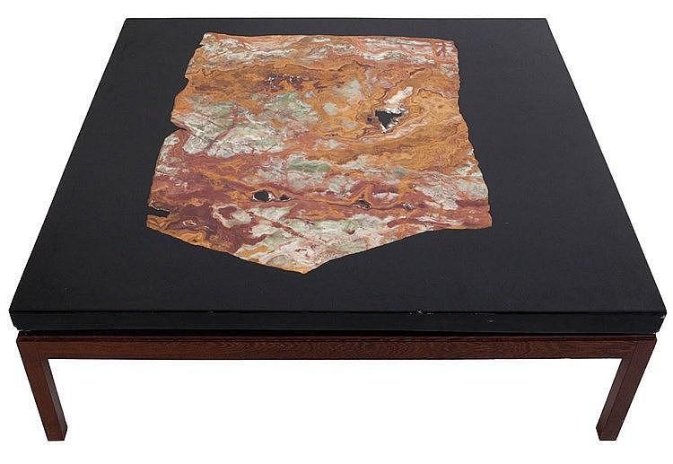 ETIENNE ALLEMEERSCH (XX) Square coffee table. Circa 1975. Wenge wooden