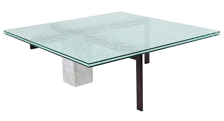 ANONYMOUS XX Coffee table. Circa 1990. Glass top (tiny chip), white ve