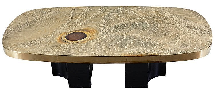 JEAN-CLAUDE DRESSE(1946) Coffee table. Circa 1980. Brass etched patter