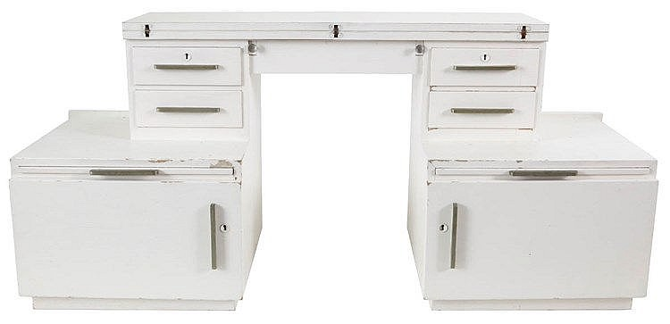 ANONYMOUS XX H. PANDER Desk, circa 1930 - 40. Modernist furniture. Whi