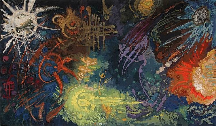 GASPARD DE WIT (1892-1971) 'L'Univers' (1971) Woolen tapestry.