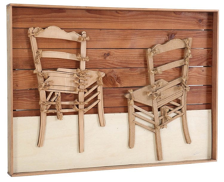 PIETER CELIE(1938) Two chairs. Assembly (board and string). Signed and