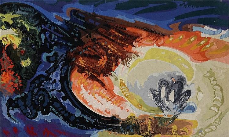 GASPARD DE WIT (1892-1971) 'Coin d'un jardin' (1971) Tapestry. 11