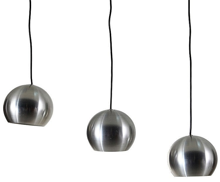 ANONYMOUS XX Set of three hanging lamps. Circa 1970. Brushed aluminum.