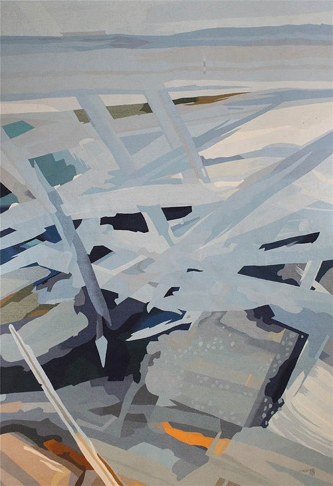 JACQUES FADAT(1950) 'Espace Bleu' Aubusson tapestry. Signed. Shie