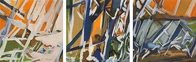 JACQUES FADAT(1950) 'Triptique Diamant III' (1981) Aubusson tapis