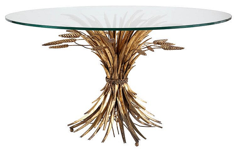 ANONYMOUS XX Coffee table, circa 1970. Round glass top supported by me
