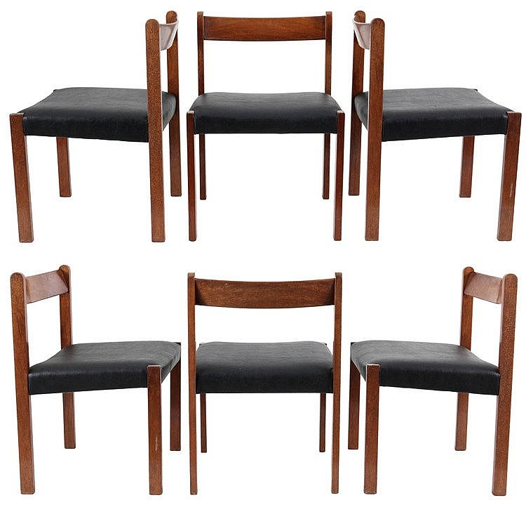 ALFRED HENDRICKX(1931) / BELFORM Set of six chairs, model A4. Circa 19