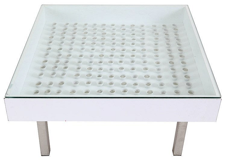 PIET STOCKMANS(1940) Coffee table. Circa 2000. Brushed steel frame. Po