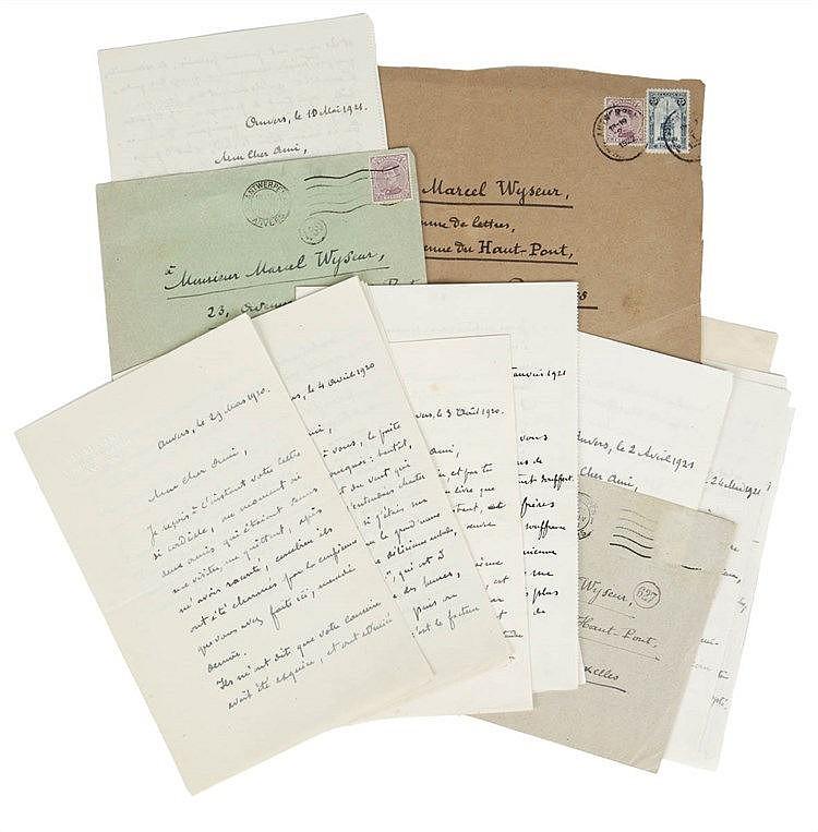 (Elskamp - Wyseur) Correspondance Max Elskamp - Marcel Wyseur. Ensemble de