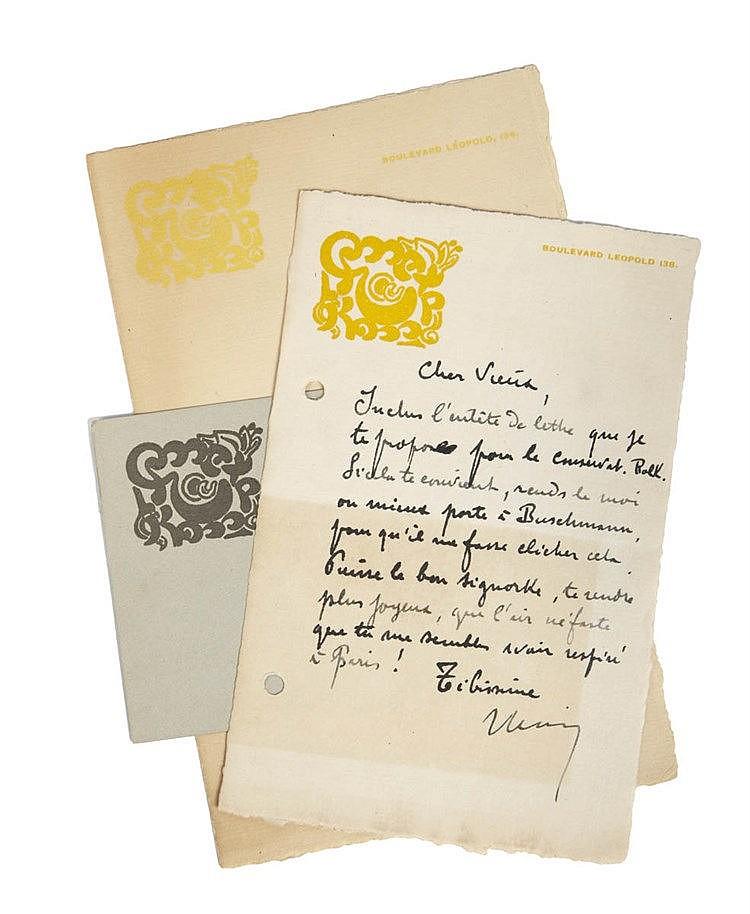 (Elskamp) Max Elskamp. Lettre à Victor de Meyere (?). 1 feuille in-8° de Va