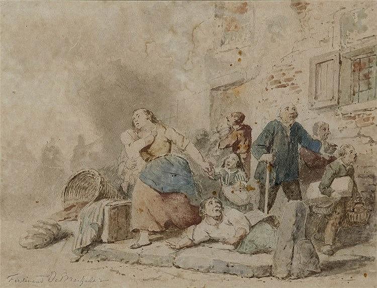 FERDINAND DE BRAEKELEER DE OUDE (1792-1883) Watercolour. Signed. Frame