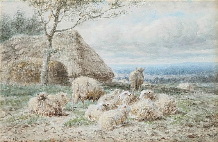 HELMERT RICHARD VAN DER FLIER (1827-1897) Sheep. Watercolour. Initials