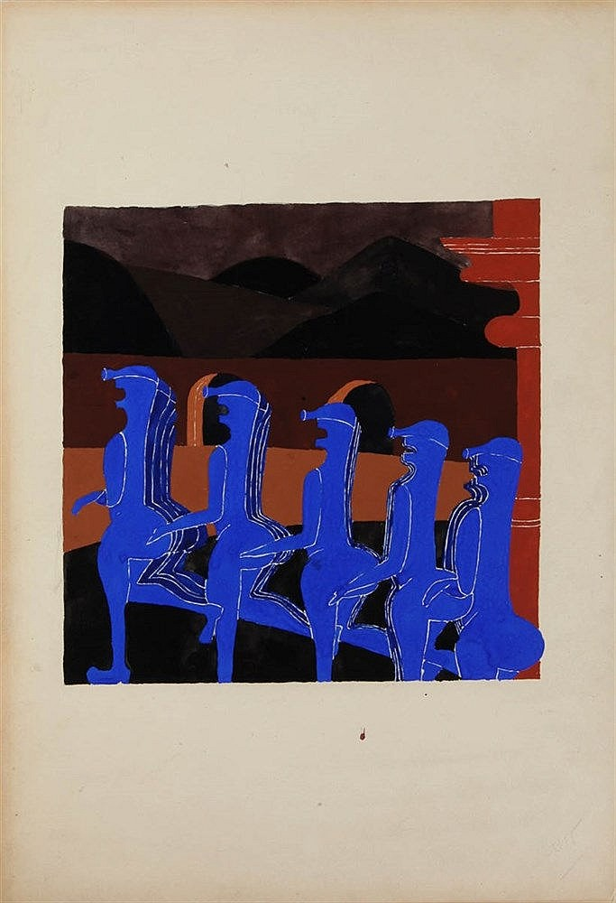 VIC GENTILS (1919-1997) Composition for chess game. Gouache.  200