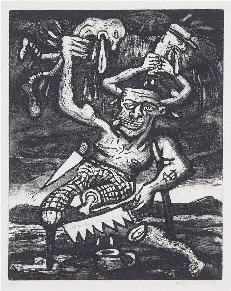 FRED BERVOETS(1942) Strange characters. Etching and aquatint. Signed i