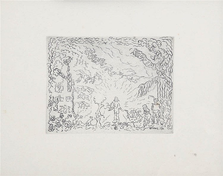 JAMES ENSOR (1860-1949) Le diable au moulin. Etching on simili-Japan p