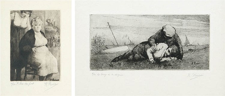 KURT PEISER (1887-1962) One dry point and one etching, both on simili-