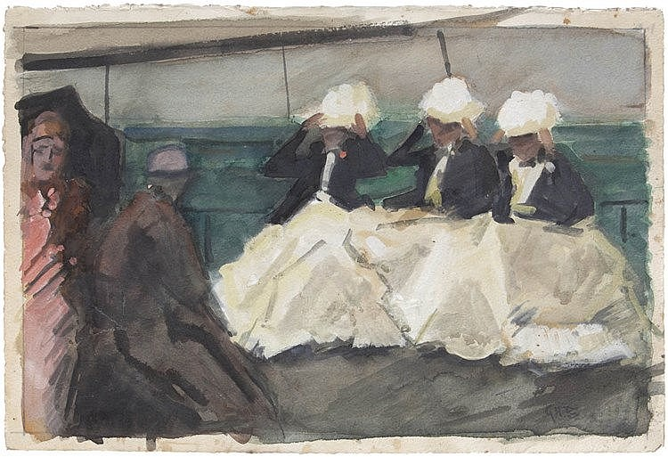 GEORGE HENDRIK BREITNER (1857-1923) Three women. Watercolour. Initials
