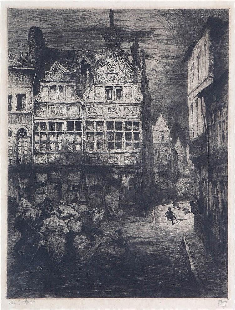 JULES DE BRUYCKER (1870-1945) 'La Maison Jean Palfyn Gand' (1912). Etc