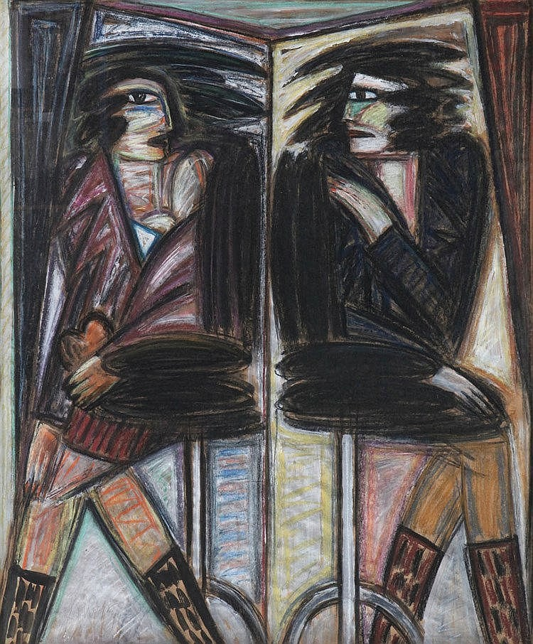 YVAN THEYS (1936-2005) At the bar. Charcoal, oil, pastel and colour cr