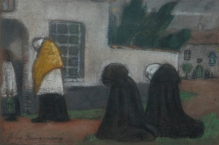 FELIX TIMMERMANS (1886-1947) Animated streetview in Lier. Pastel and c