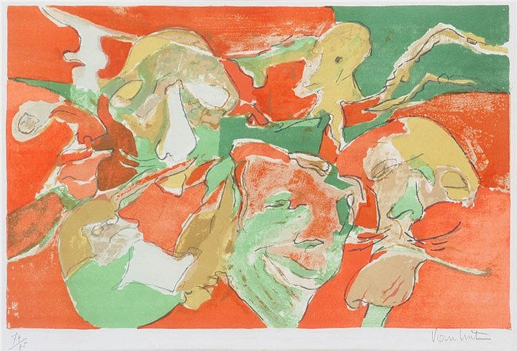 LOUIS VAN LINT (1909-1987) Composition. Colour lithograph. Signed and