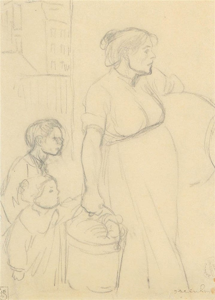 THEOPHILE STEINLEN (1859-1923) Mother and children. Pencil on tracing