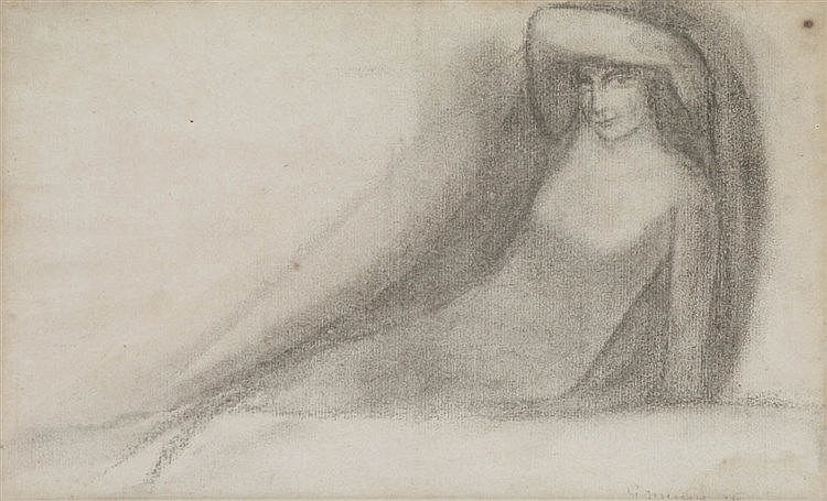 GEORGE MINNE (1866-1941) Drawing for a tomb. Pencil. Signed and dated